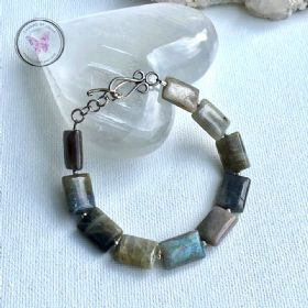 Labradorite Rectangles Silver Bracelet